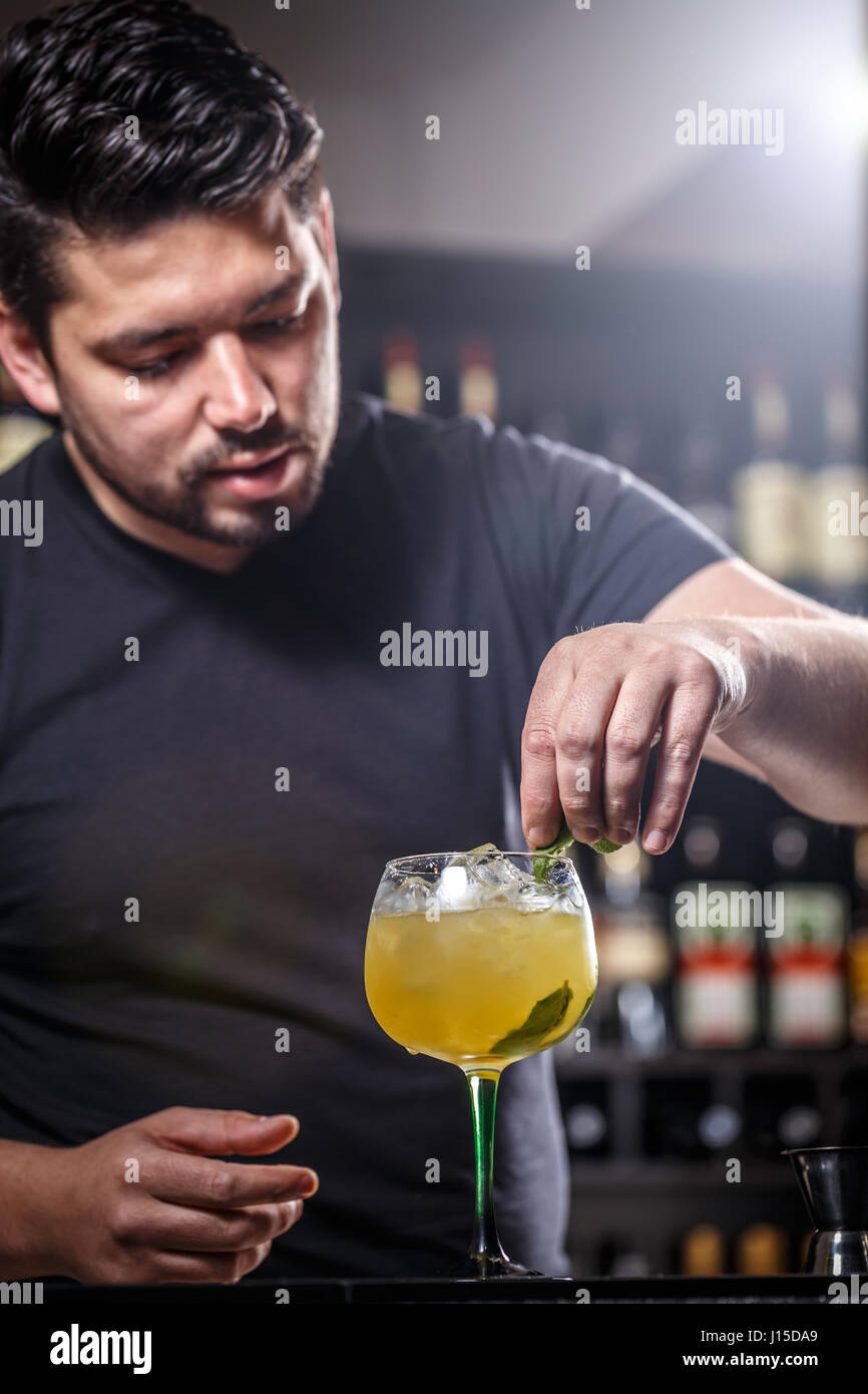 Barman is decorating cocktail with mint leaf Stock Photo