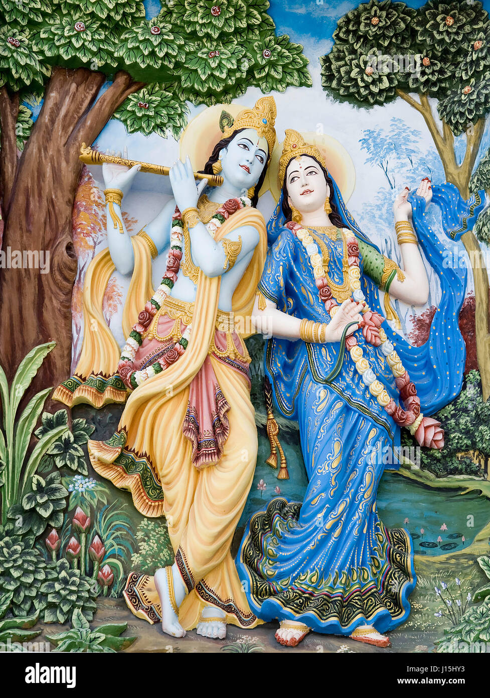 Radha Krishna Painting On Wall Mathura Uttar Pradesh India Asia
