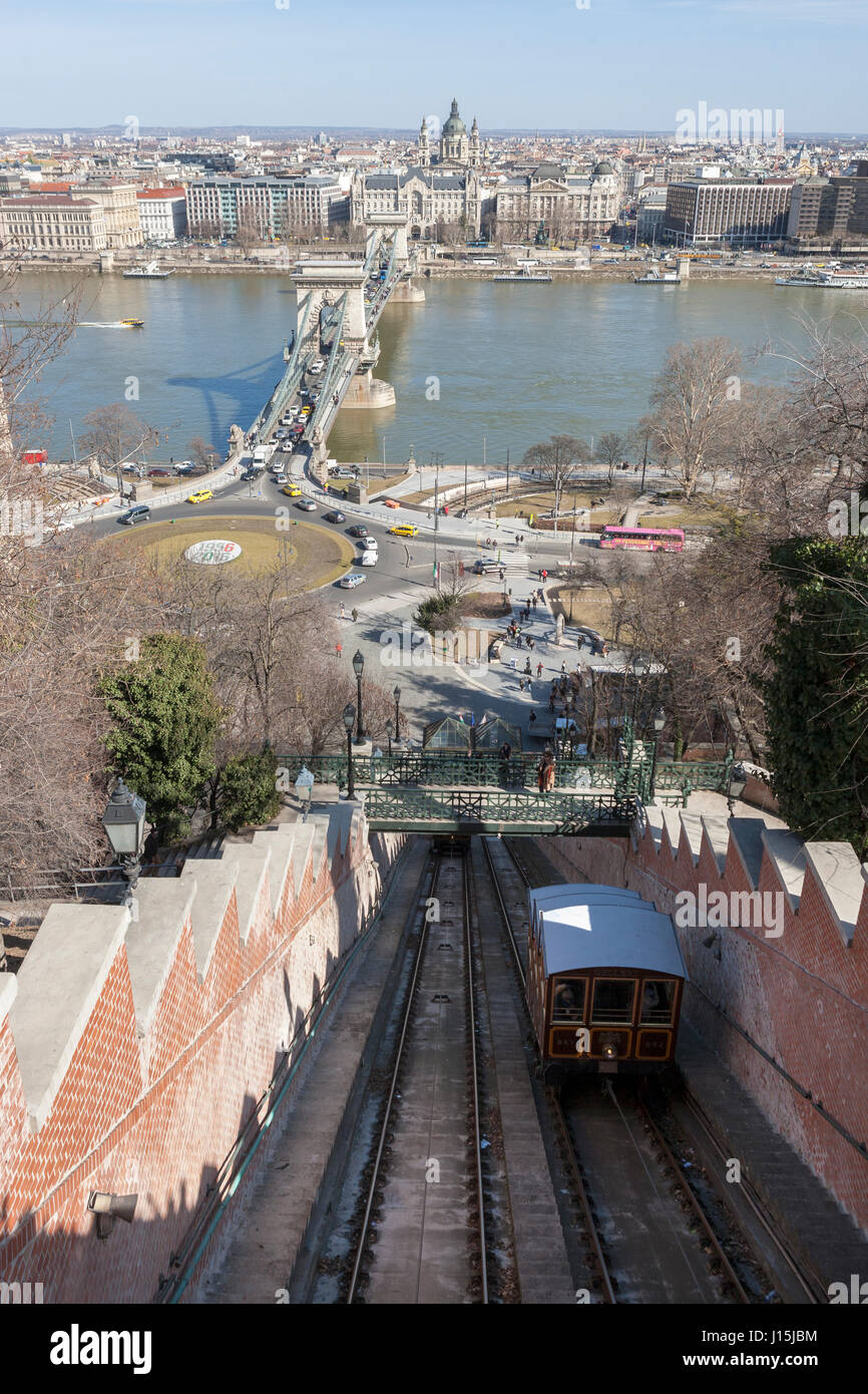 The Buda Castle Funicular, Clark Ádám tér, the Széchenyi Chain Bridge over the Danube, and Pest on the opposite Stock Photo
