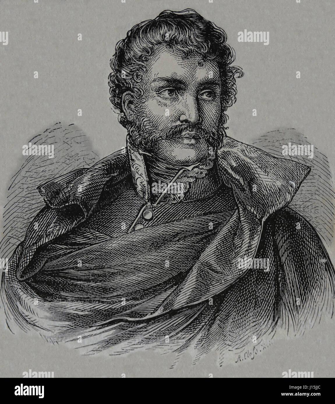 Francisco Espoz y Mina (1781-1836).  Spanish general. Engraving by Nuestro Siglo, 1883. - Stock Image