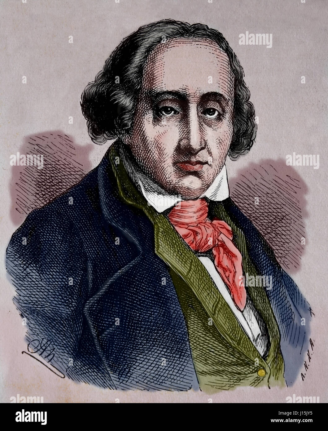 Joseph Maria Jacquard (1752-1834). French merchant. Inventor of programmable loom.  Engraving, Nuestro Siglo, 1883. - Stock Image