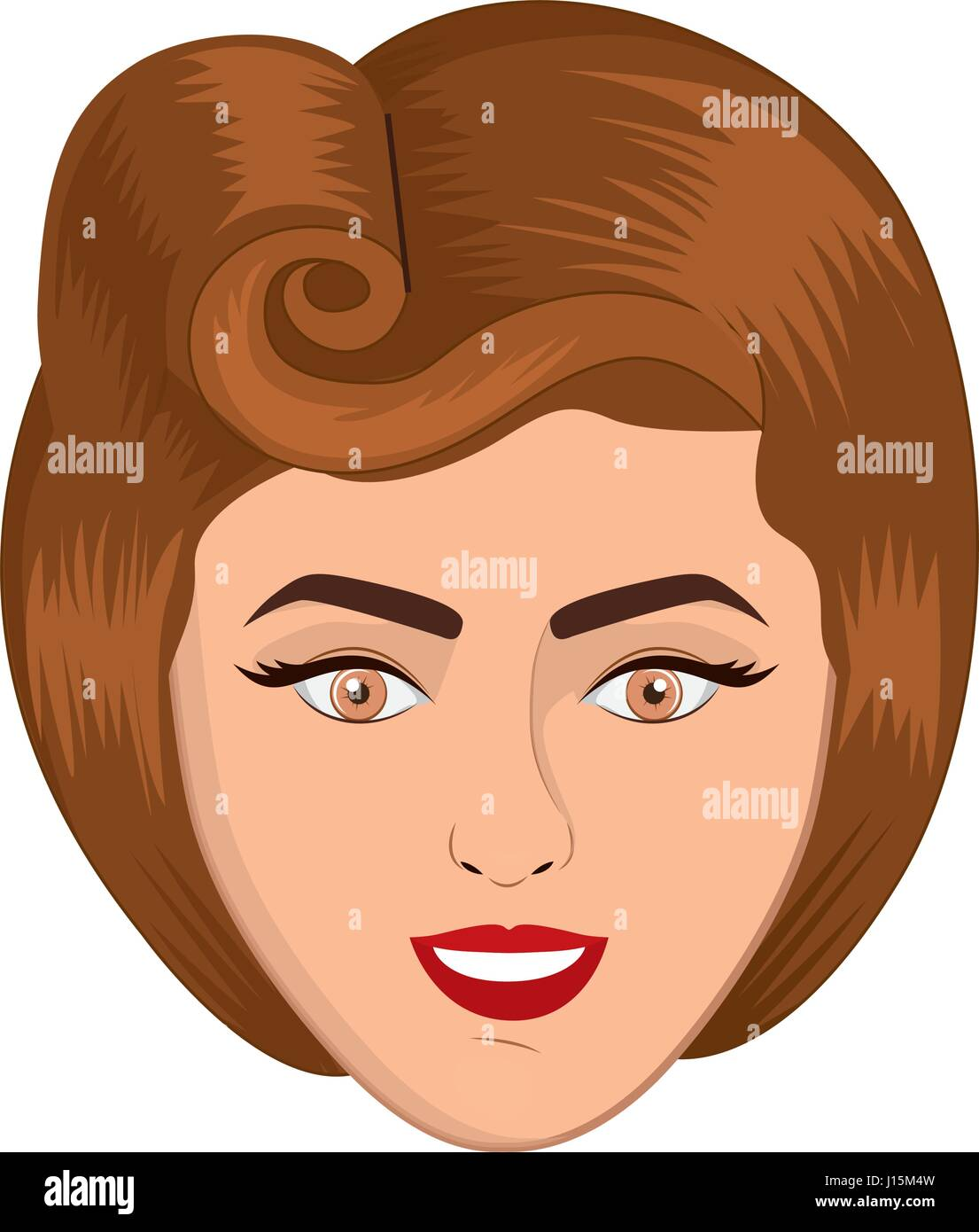 colorful realistic face woman with eighties hairstyle Stock Vector