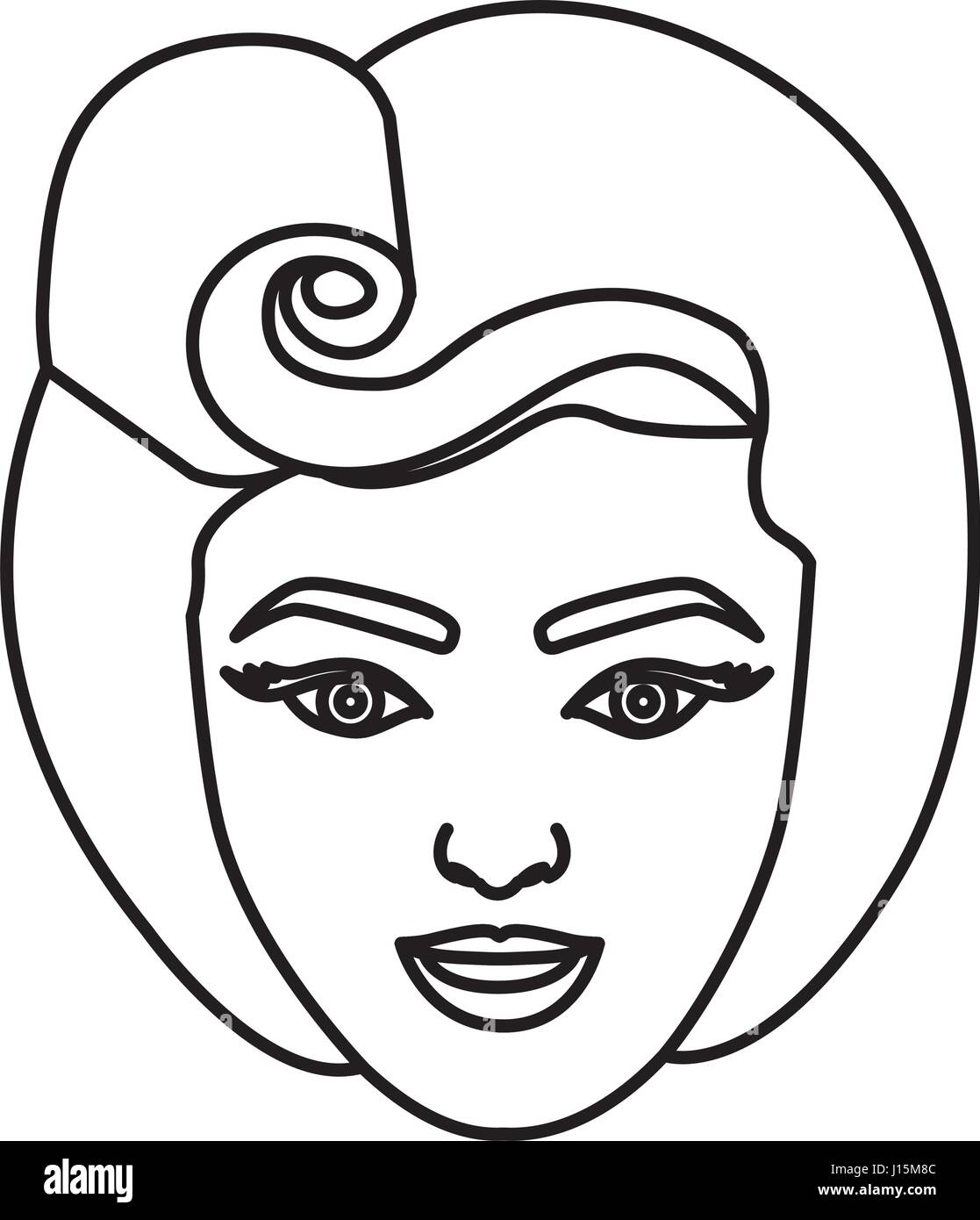 silhouette drawing of face woman with eighties hairstyle - Stock Vector