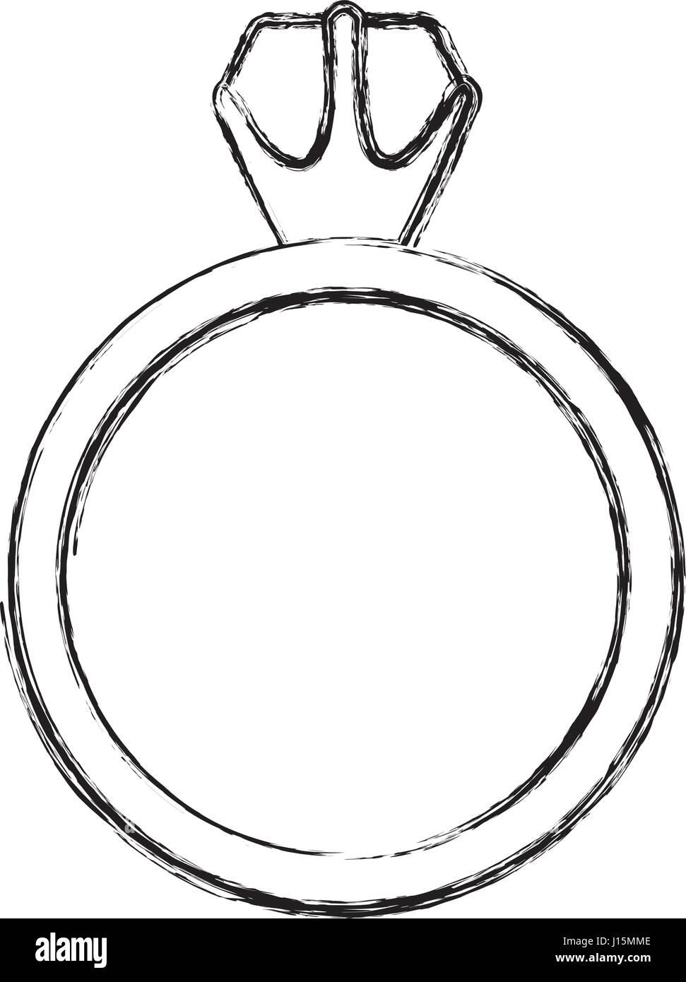monochrome sketch contour of diamond ring - Stock Image