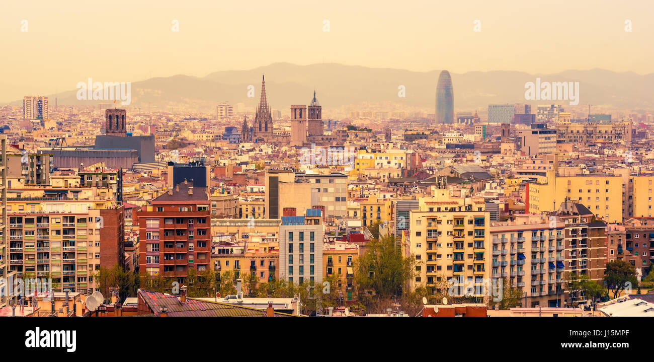 Aerial top view of Barcelona, Catalonia, Spain - Stock Image