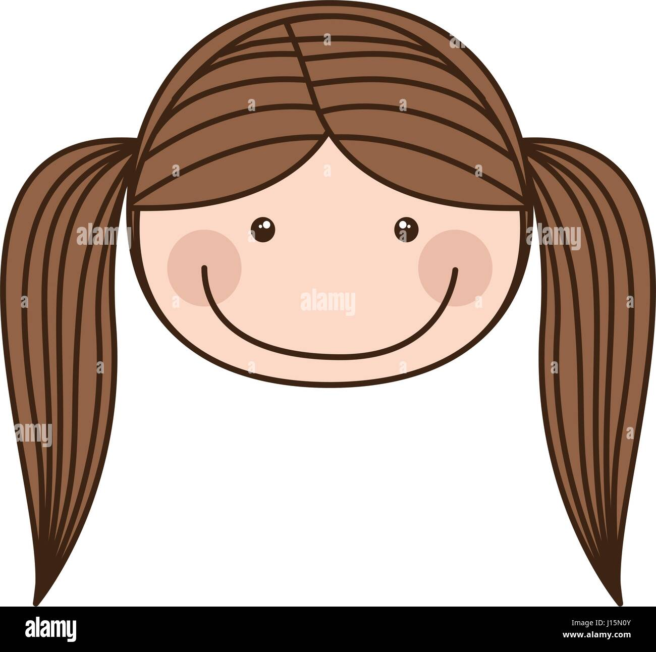 Colorful Caricature Front Face Girl With Pigtail Hair Stock Vector