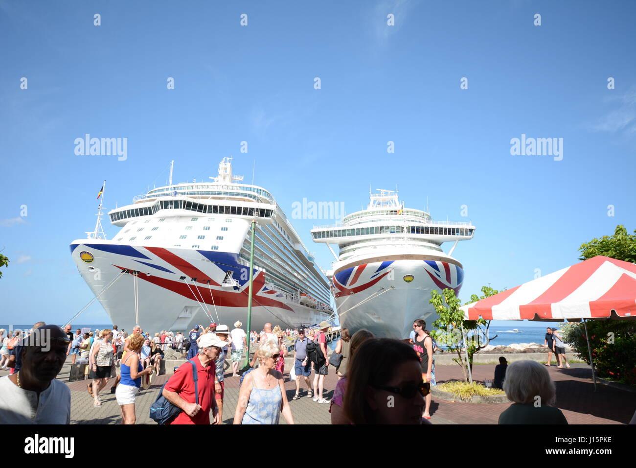 Grenada P@O cruise ships Azura and Britannia - Stock Image