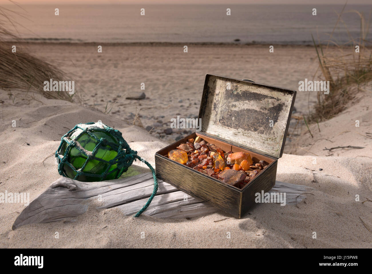 treasure chest with amber stone baltic sea germany - Stock Image