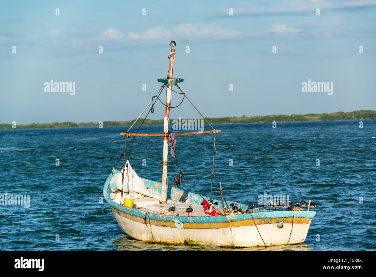 Old worn out boat and seascape in Rio Lagartos, Mexico - Stock Image