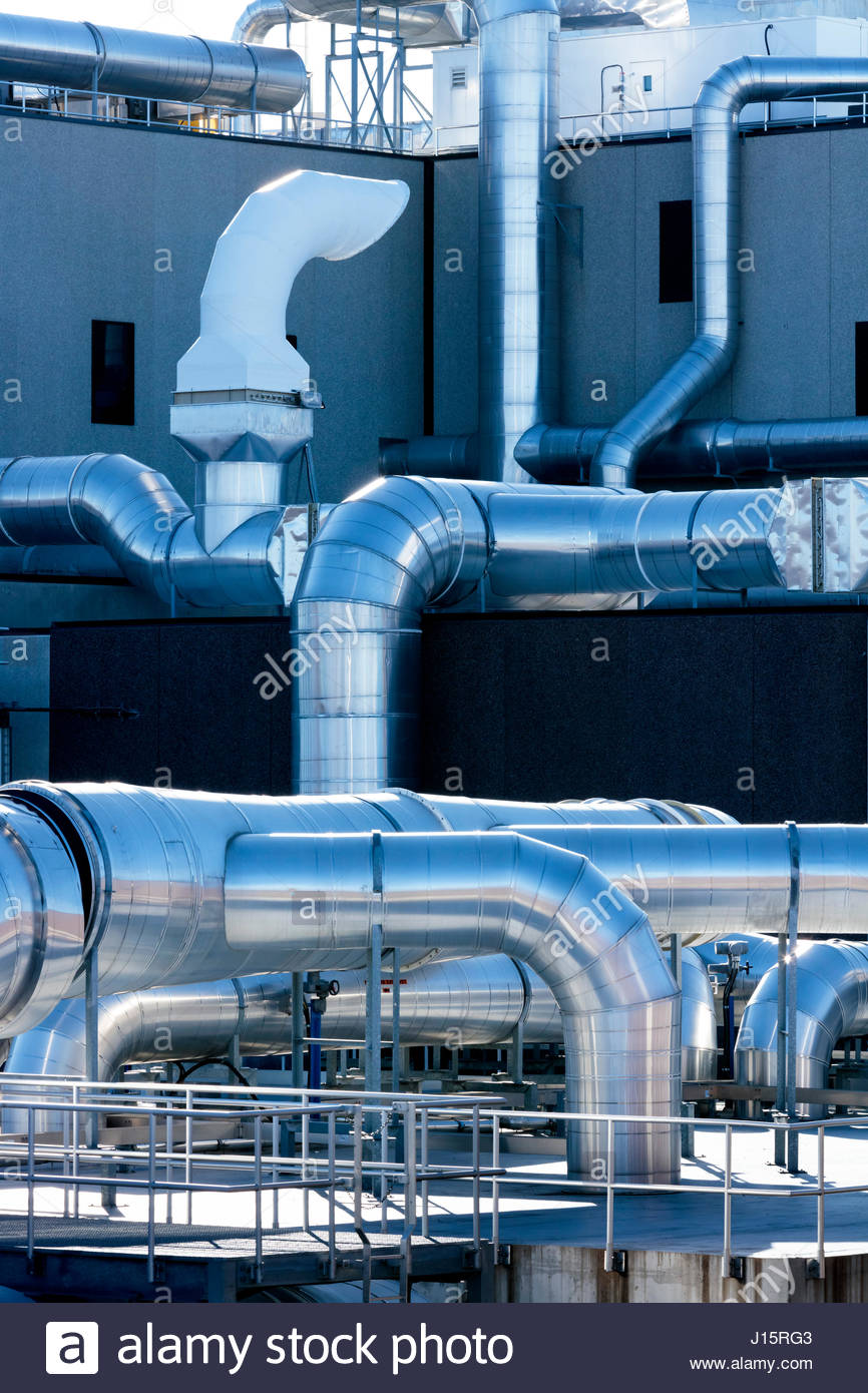 Air ducts ductwork aeration odour control duct system at Ashbridges Bay wastewater treatment plant in Toronto Ontario - Stock Image