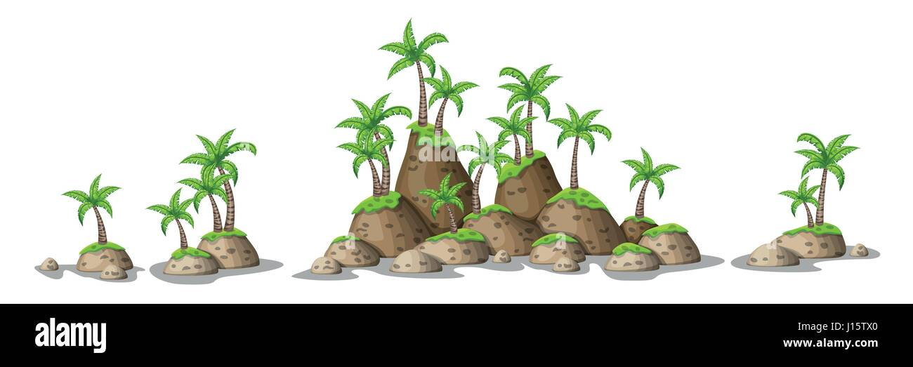 Different hills with tropical palm trees, panorama - Stock Image