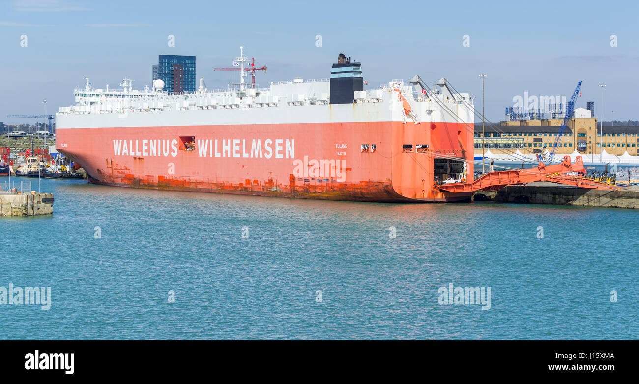 Tulane vehicle carrier ship moored in port with the rear door open on the Solent in Southampton Port, Hampshire, - Stock Image