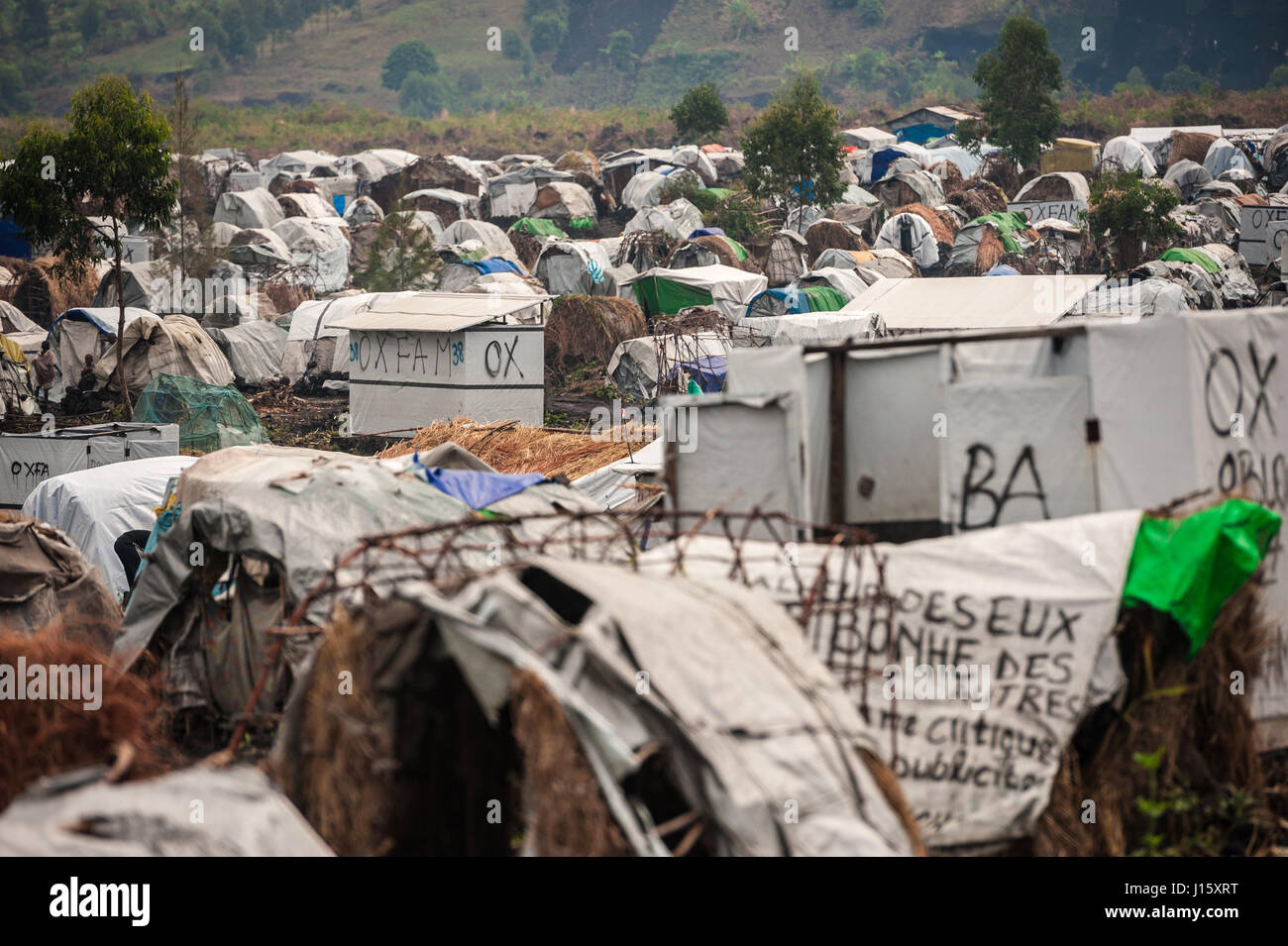A camp for internally displaced persons (IDP) near Goma, eastern Democratic Republic of Congo - Stock Image