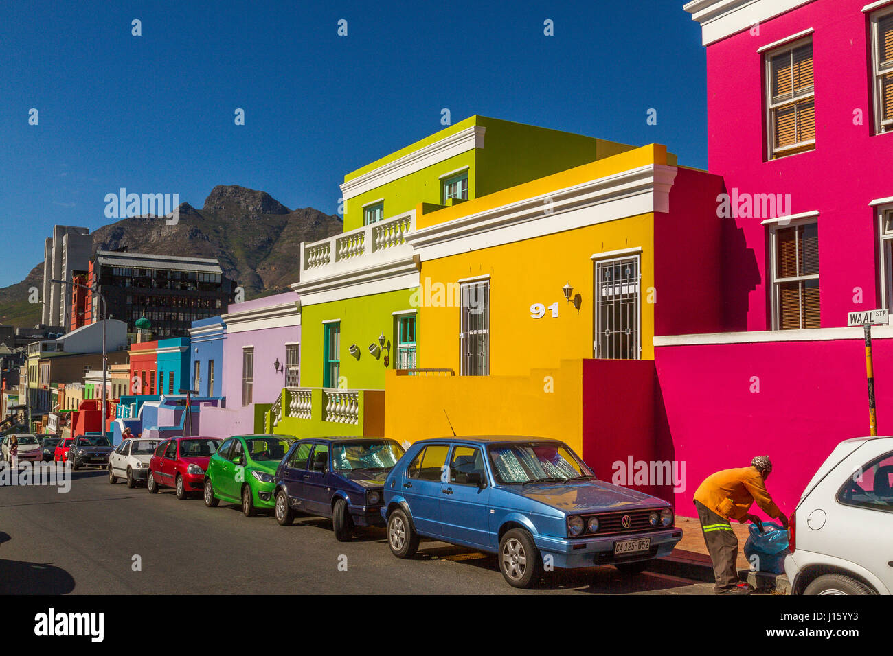 Brightly painted houses in the Bo - Kaap or Malay Quarter area of Cape Town,located on the Slopes of Signal Hill - Stock Image