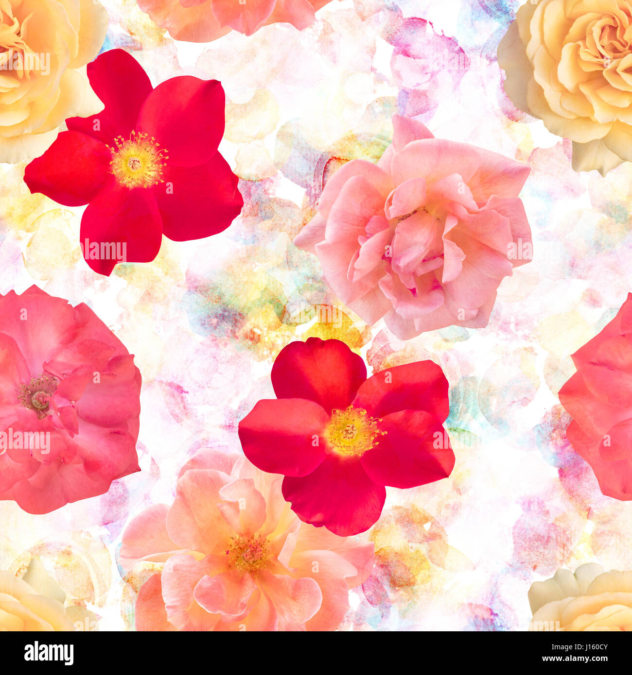 Red Watercolor Flowers Seamless Pattern Stock Photos & Red ...