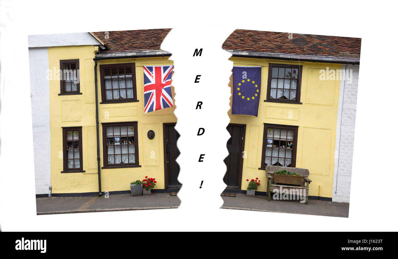 Thaxted Essex England UK. June 2016 The Union Jack flag and the European flag outside the photographers house in Stock Photo