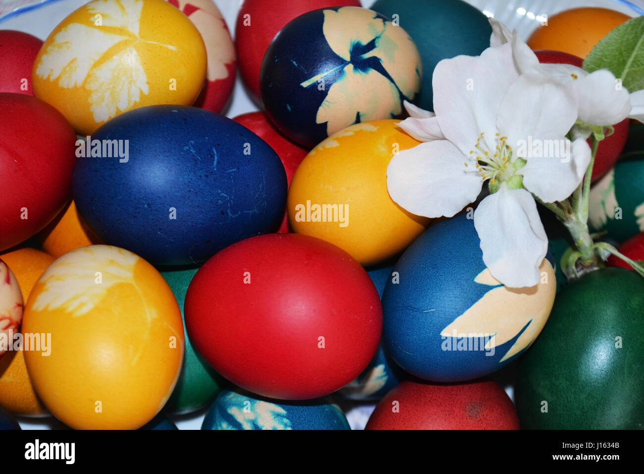 Easter egg plate painted on Easter holidays. This is a traditional custom that is respected every year. - Stock Image
