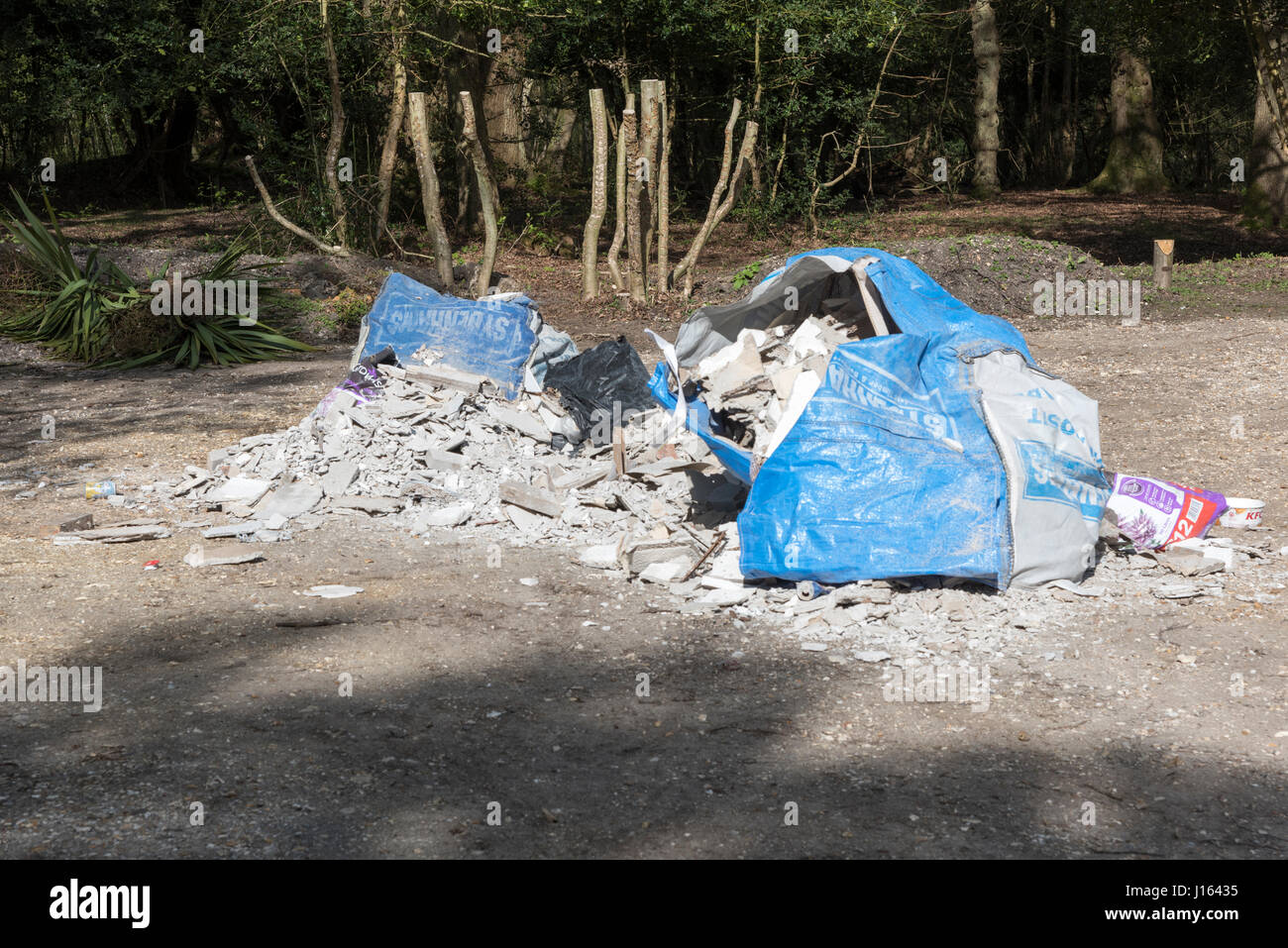 Fly tipping in the New Forest - Stock Image