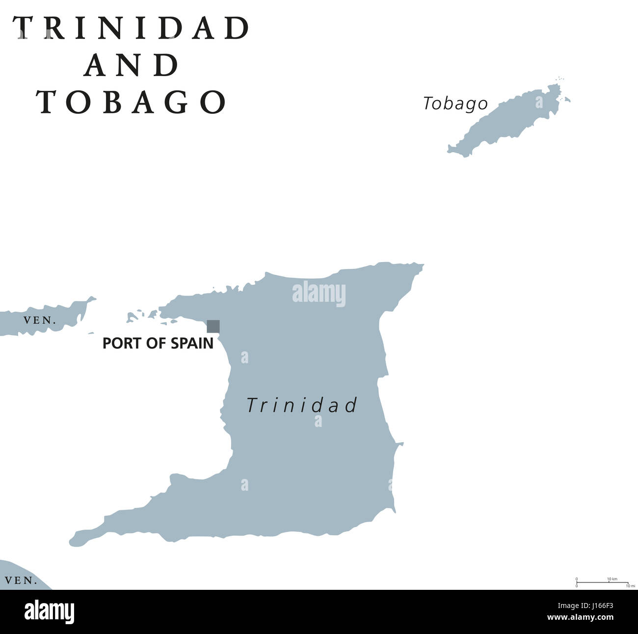 Trinidad and Tobago political map with capital Port of Spain Stock