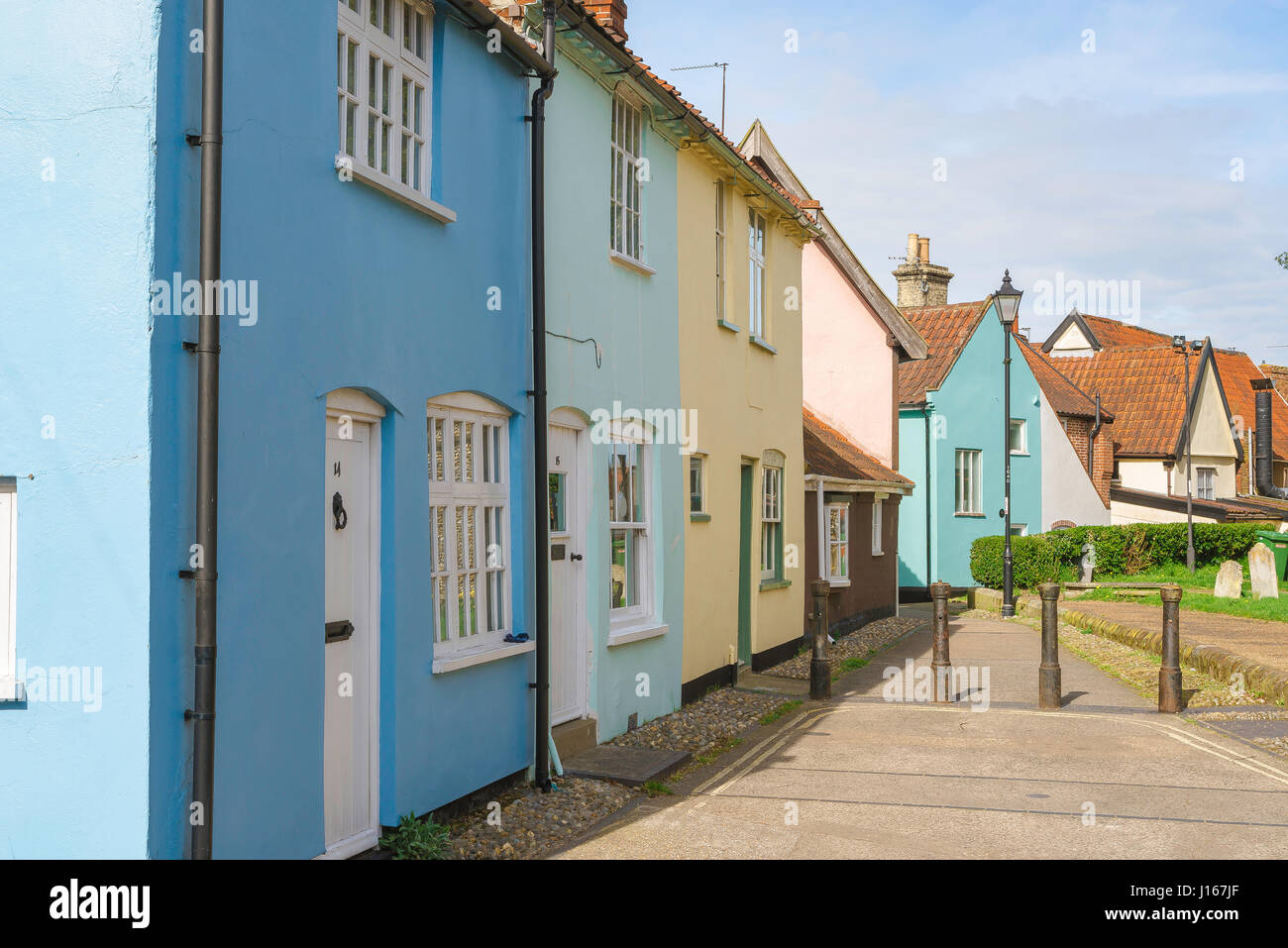 Halesworth Suffolk, colourful cottages in the centre of the rural Suffolk town of Halesworth, England UK - Stock Image