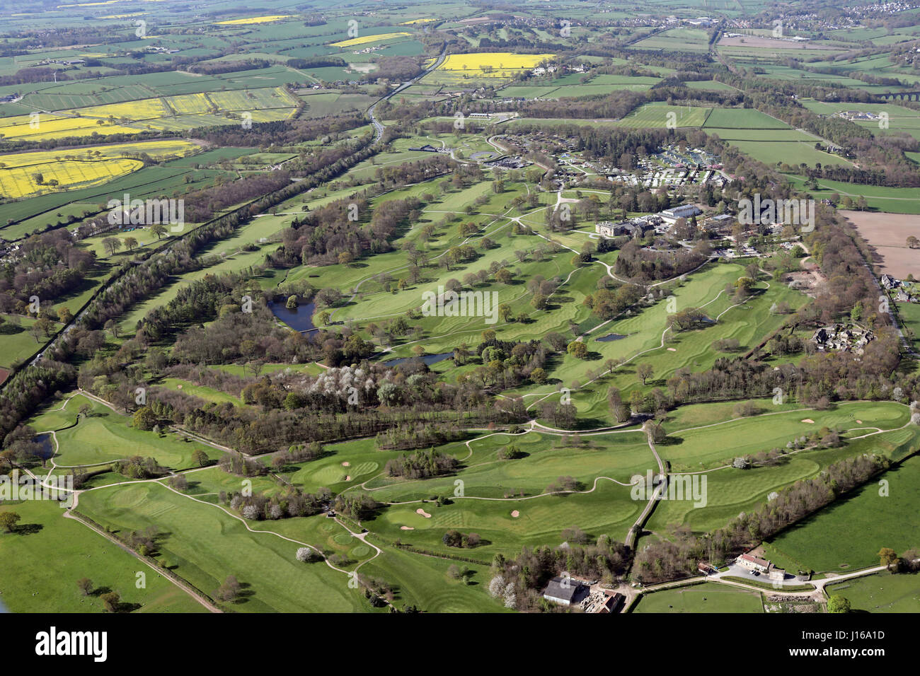 aerial view of Rudding Park golf course & hotel, Harrogate, Yorkshire, UK Stock Photo