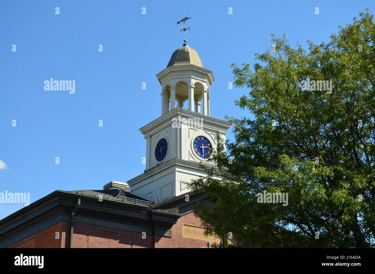 Fairport NY town hall tower. - Stock Image