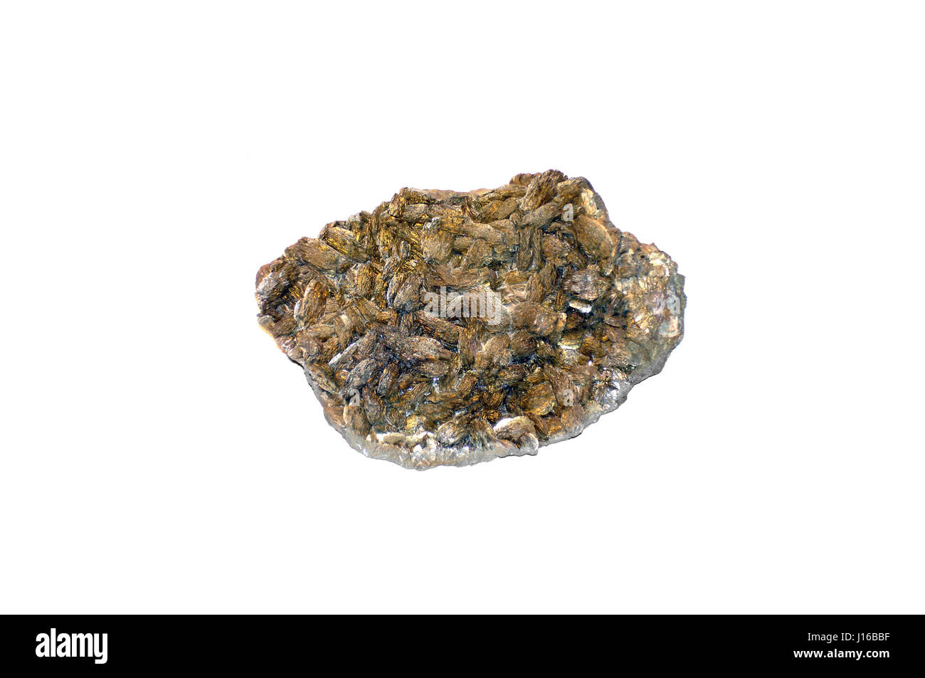 barite mineral on isolated white background (Poehl, germany) - Stock Image