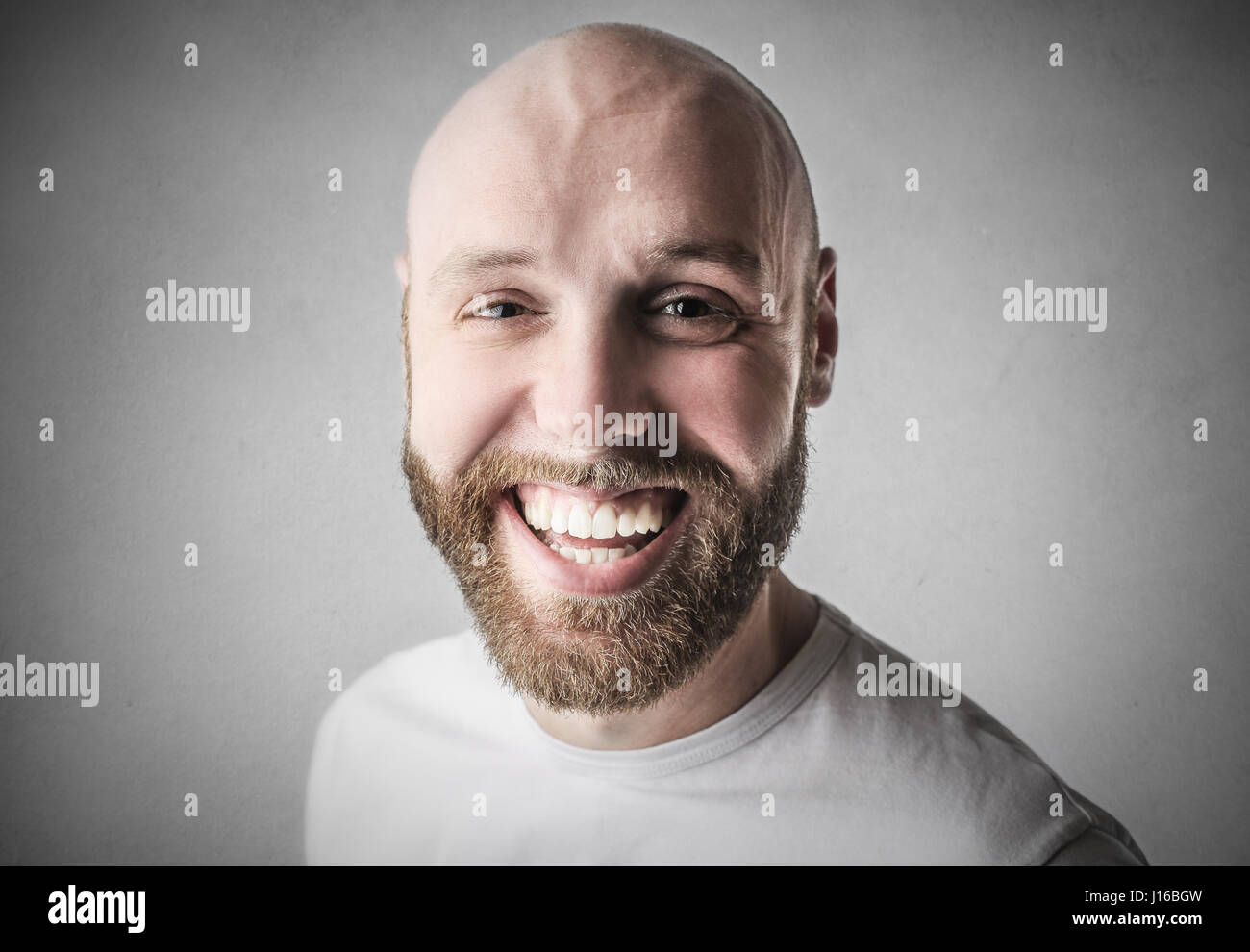 Bearded man smiling Stock Photo
