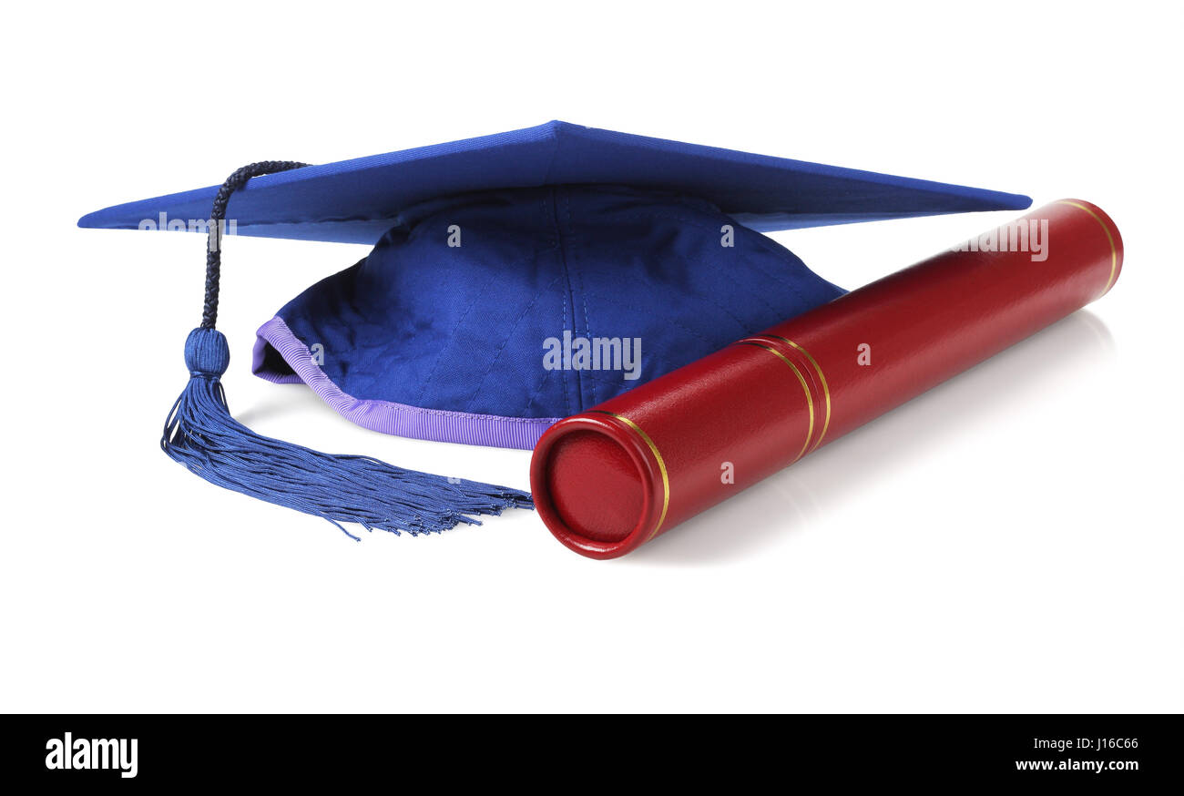 Blue Graduation Mortar Board and Scroll Holder on White Background - Stock Image