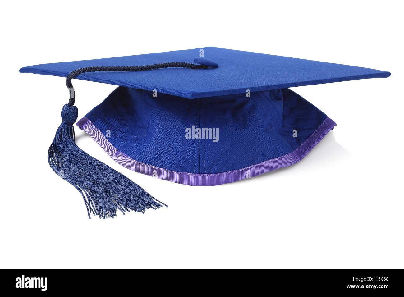Blue Graduation Mortar Board on White Background - Stock Image