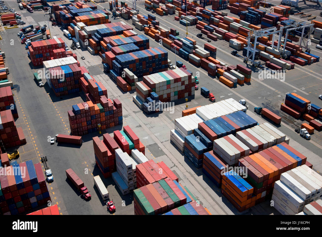NEW JERSEY, USA: Aerial view of container port. A BRITISH aerial photographer has captured the human-built world Stock Photo