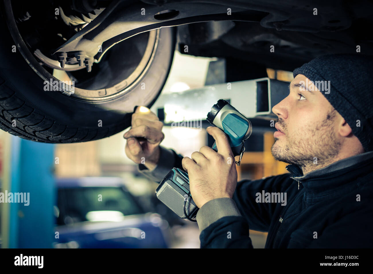 Mechanic man at work - Stock Image
