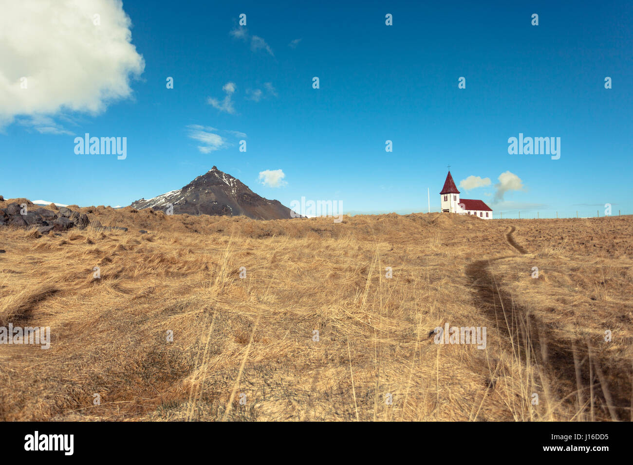 A white church sits on a hill in a golden field opposite a mountain. Hellnar, Snæfellsnes (Snaefellsnes) peninsula, Stock Photo
