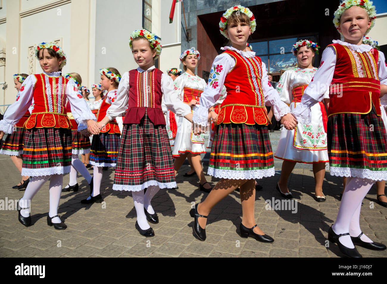 Belarusian people celebrate the City day of Minsk on central square of the city on 13 of September 2014, Republic - Stock Image