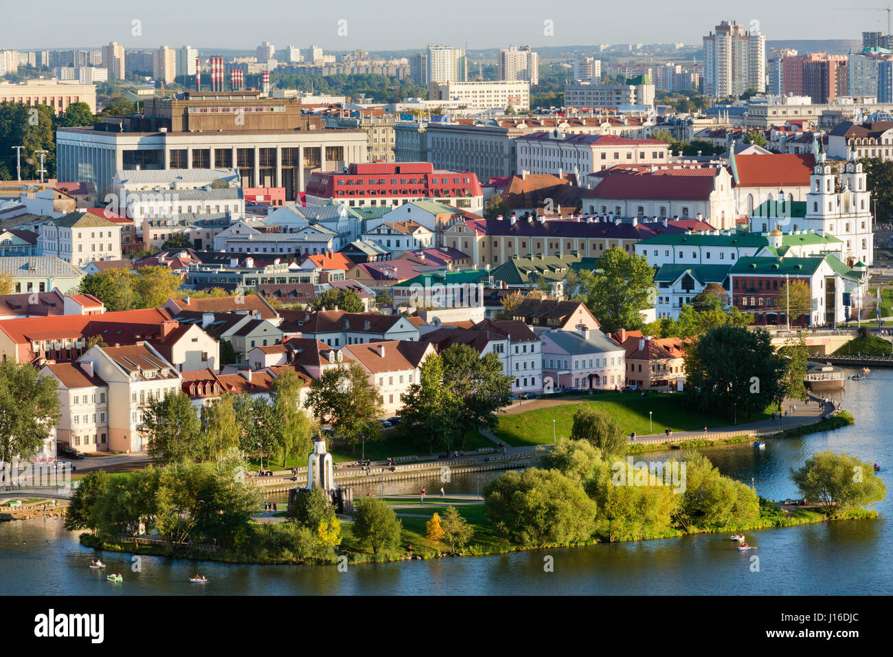 Aerial panoramic view of central streets of Minsk city on summer seaon, Belarus Republic - Stock Image