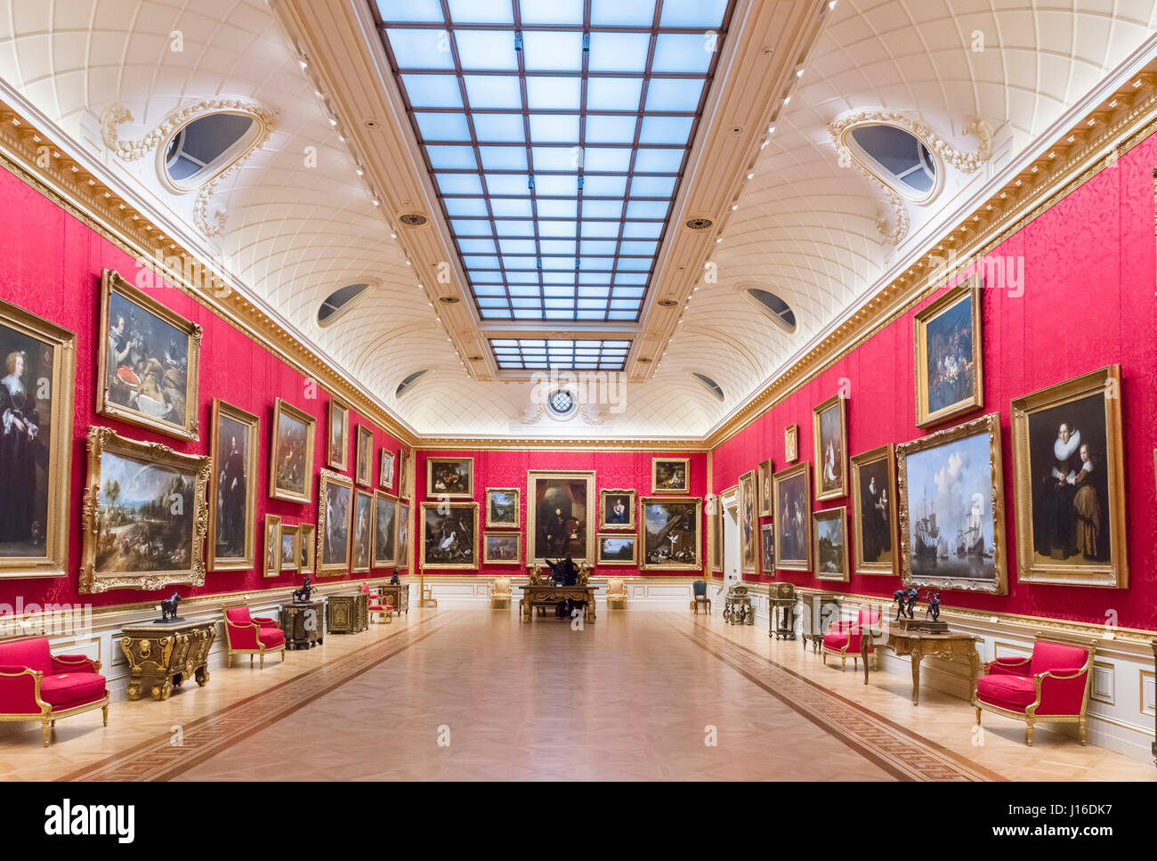 Gallery in the Wallace Collection, London, England, UK - Stock Image