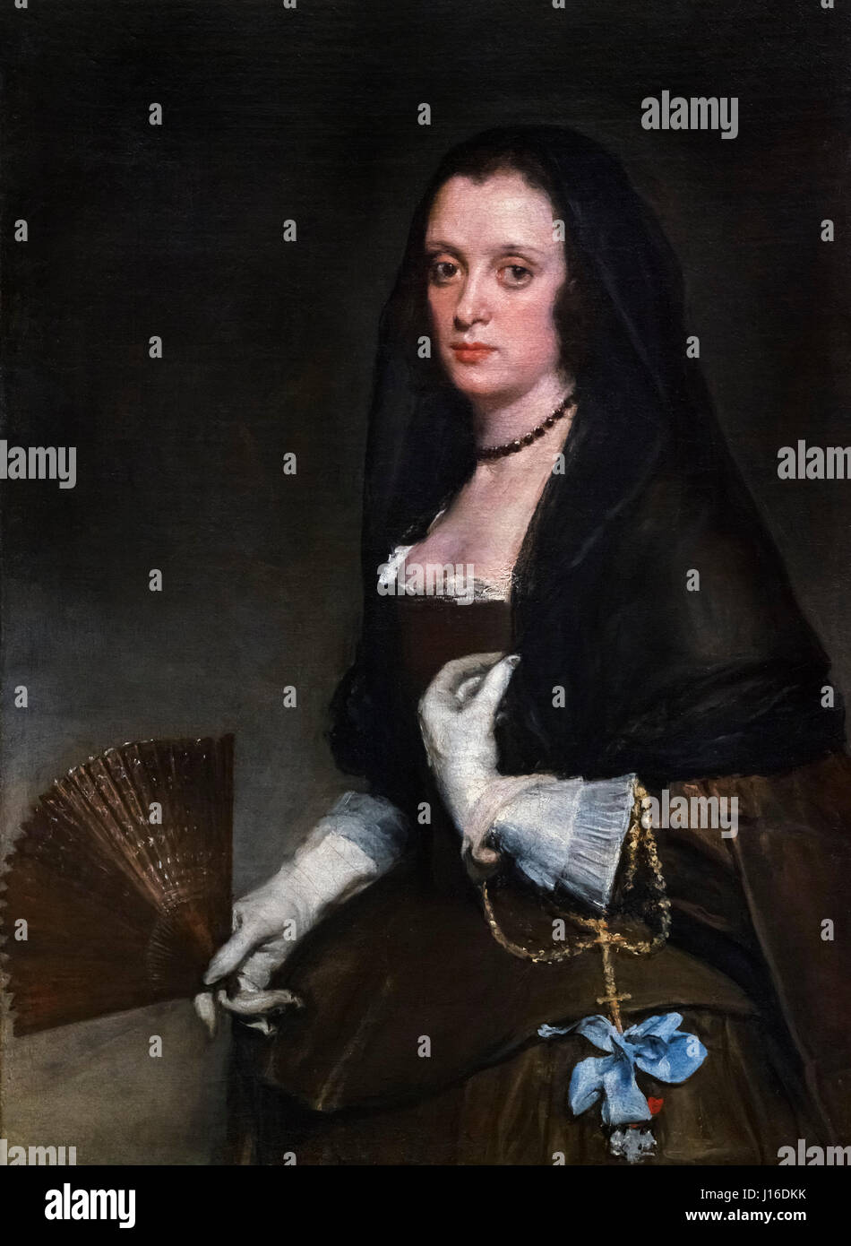 Velazquez. 'The Lady with a Fan' by Diego Velazquez (1599-1660), oil on canvas, c.1640 - Stock Image