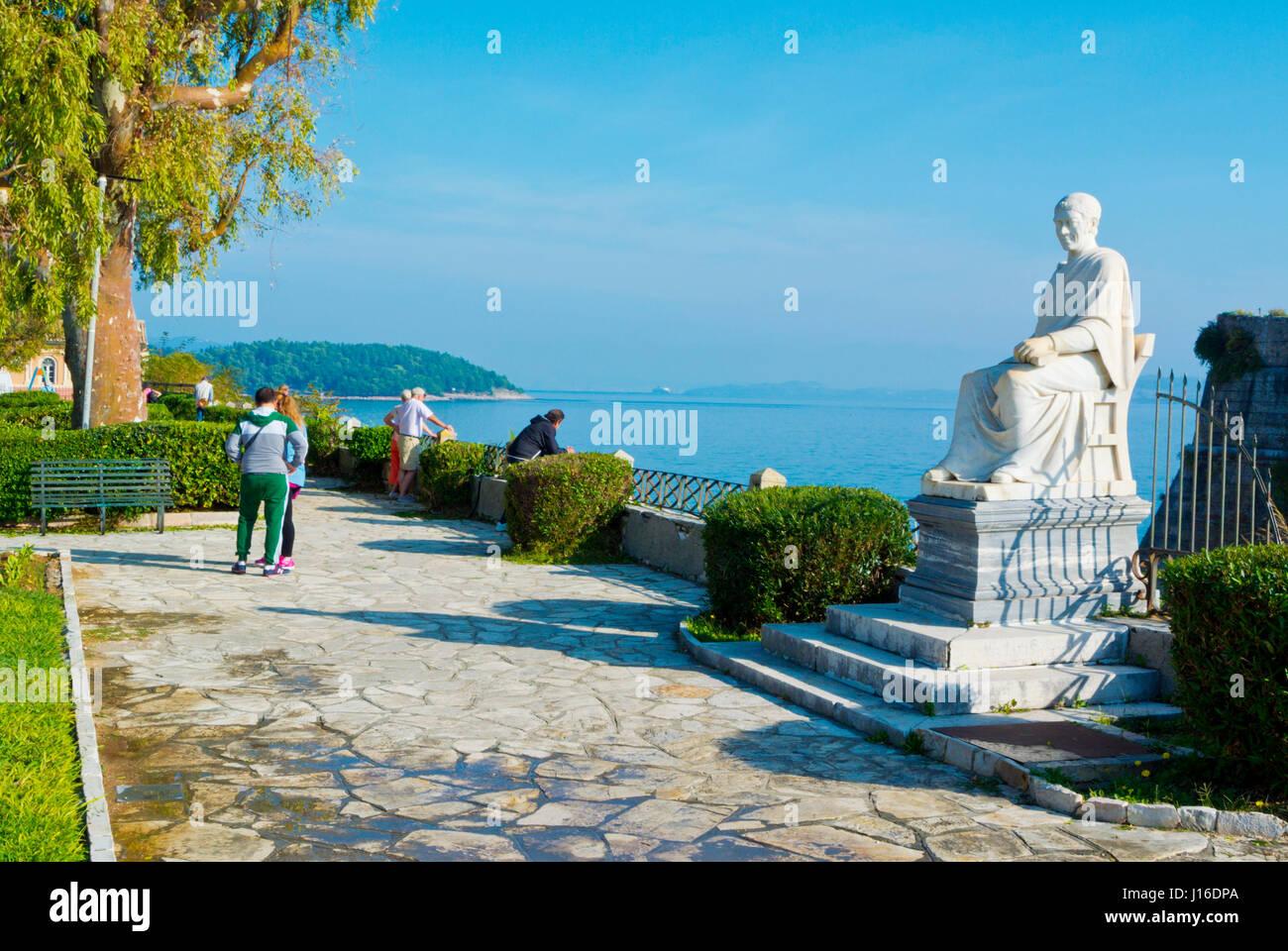 Bosketo garden, in front of Old Fortress, Spianada, Corfu town, Kerkyra, Corfu Island, Ionian islands, Greece - Stock Image