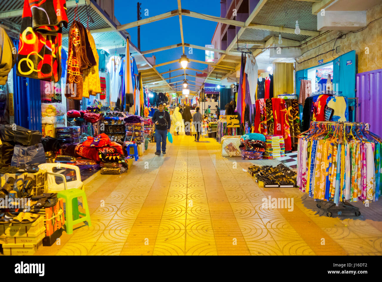 Covered shopping lane, Dakhla, Western Sahara, administered by Morocco, Africa - Stock Image