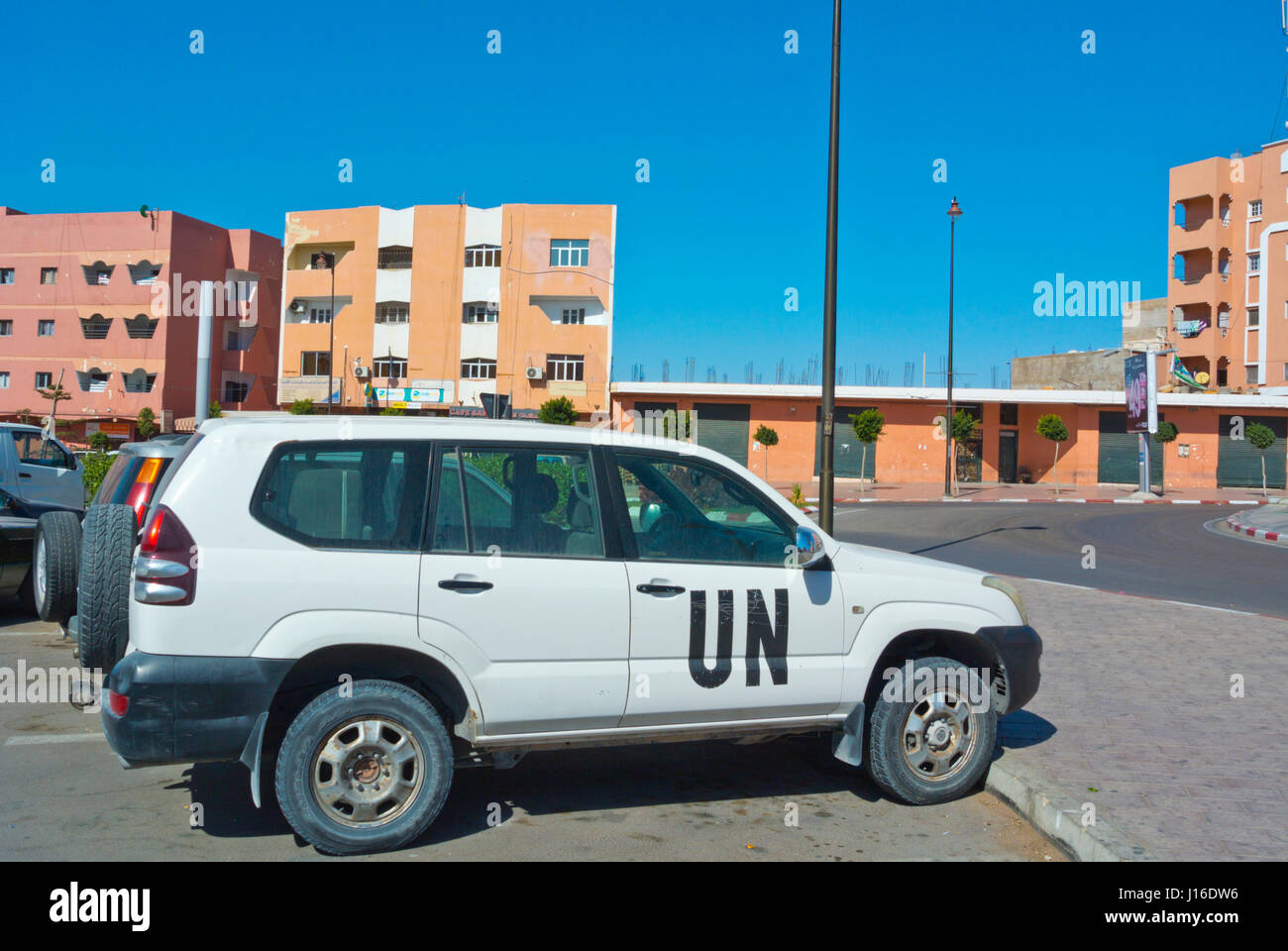 United Nations vehicle, Laayoune, El Aioun, Western Sahara, administered by Morocco - Stock Image