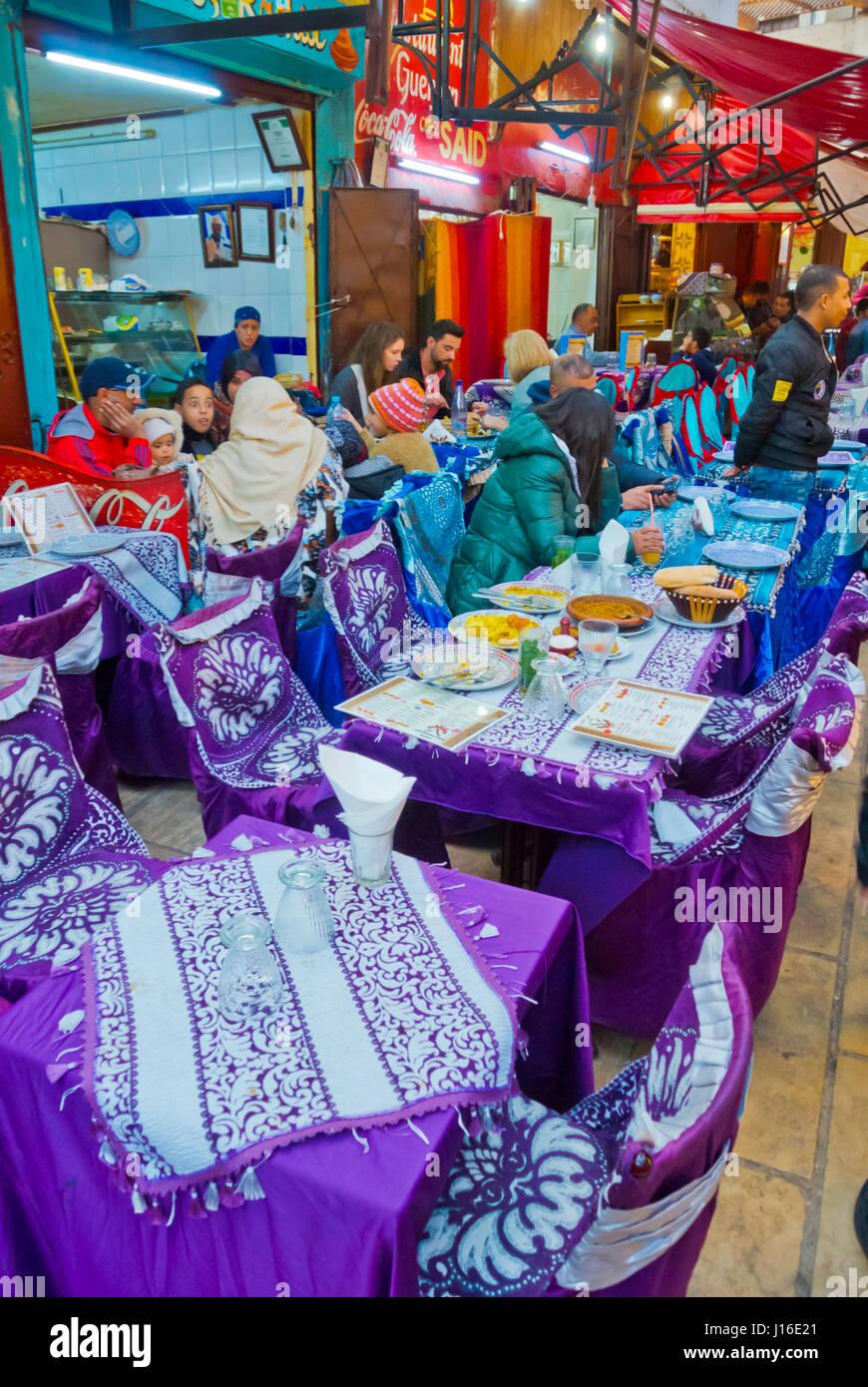 Restaurants, Derb Serrajine, Fes el-Bali, Medina, Fez, Morocco, Africa - Stock Image