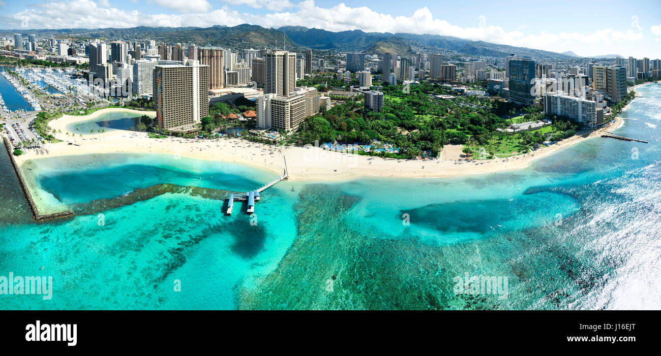 A Panoramic Helicopter View Of Waikiki's Beautiful Shoreline - Stock Image