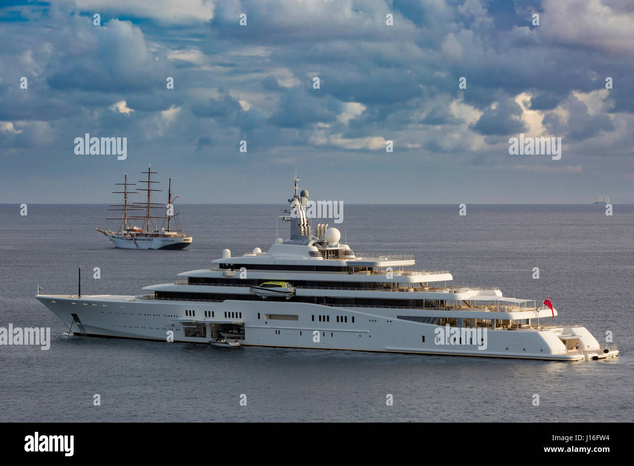 The $650,000 per week super yacht 'Naia' anchored outside the harbor of Gustavia, St Barths, French West - Stock Image