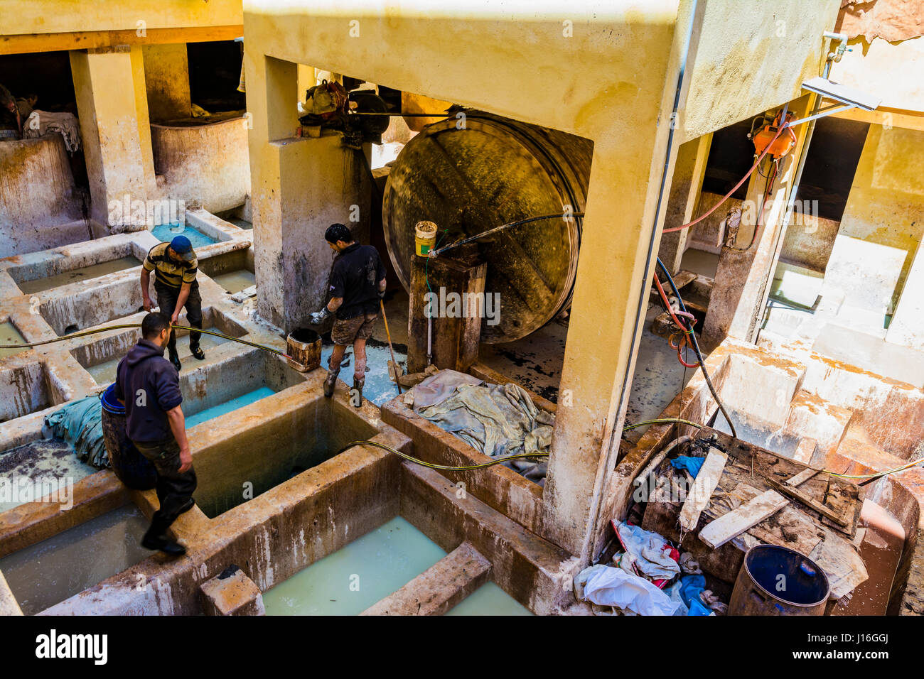 The tannery of Fes, Morocco, North Africa Stock Photo
