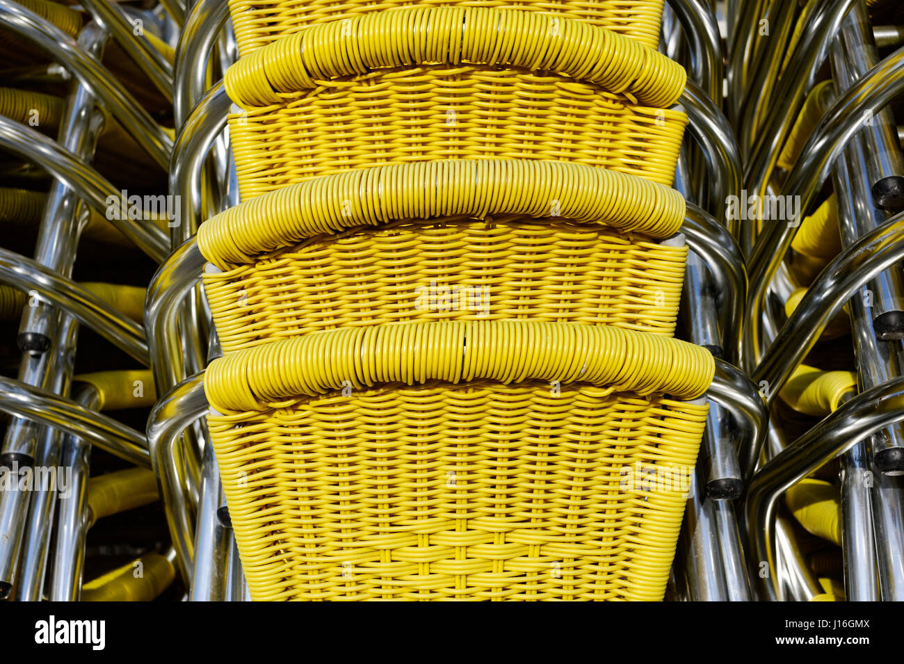 Backgrounds And Textures: Stack Of Yellow Wicker Chairs At San Marco Square