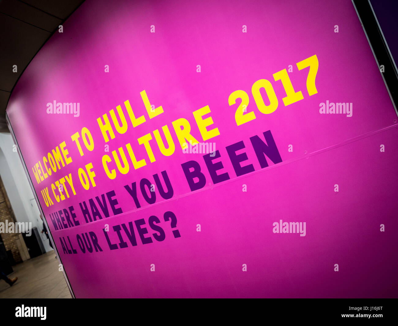 Welcome to Hull sign, UK City of Culture 2017. - Stock Image