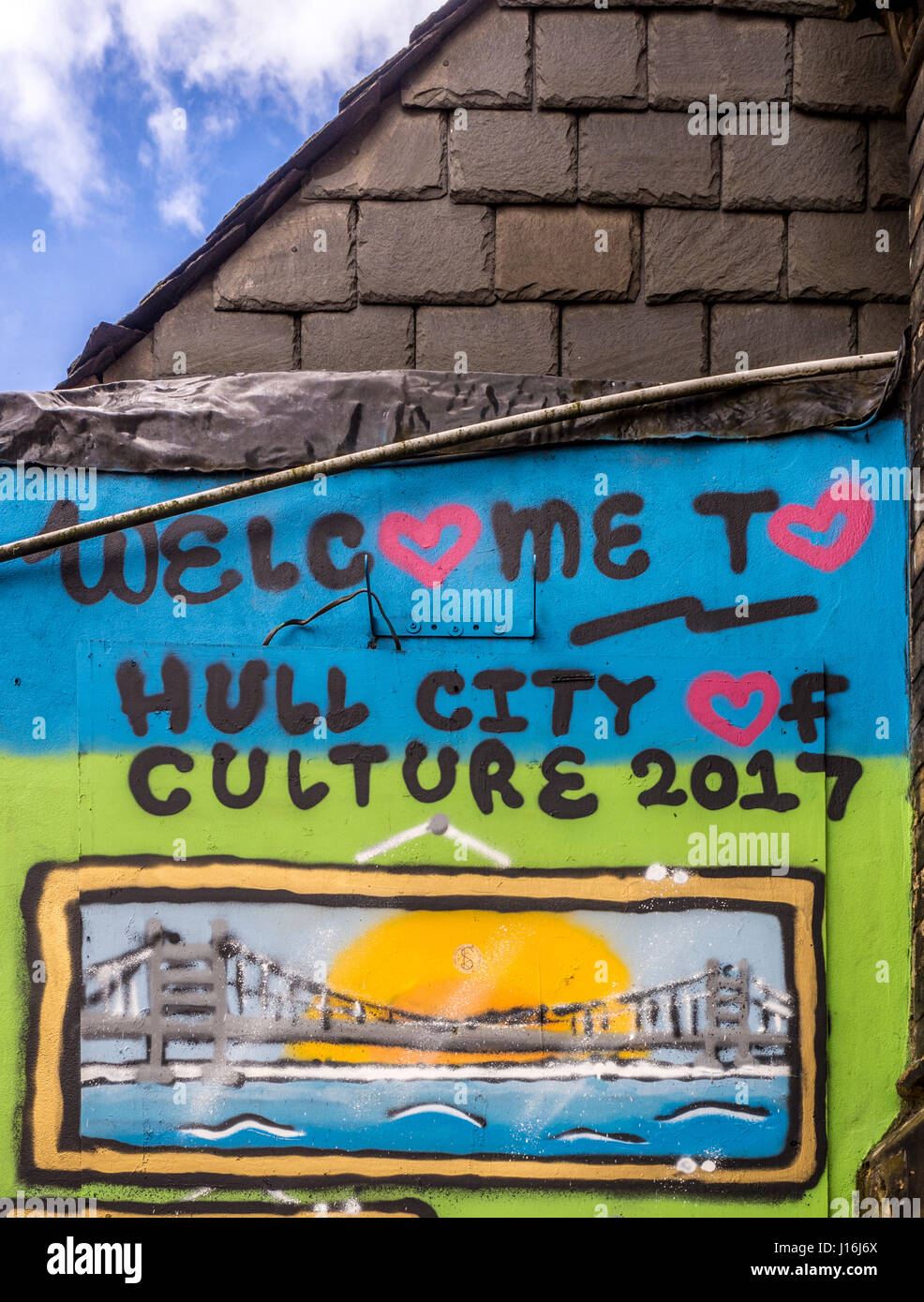 Welcome to Hull sign painted on wall of building, UK City of Culture 2017. - Stock Image