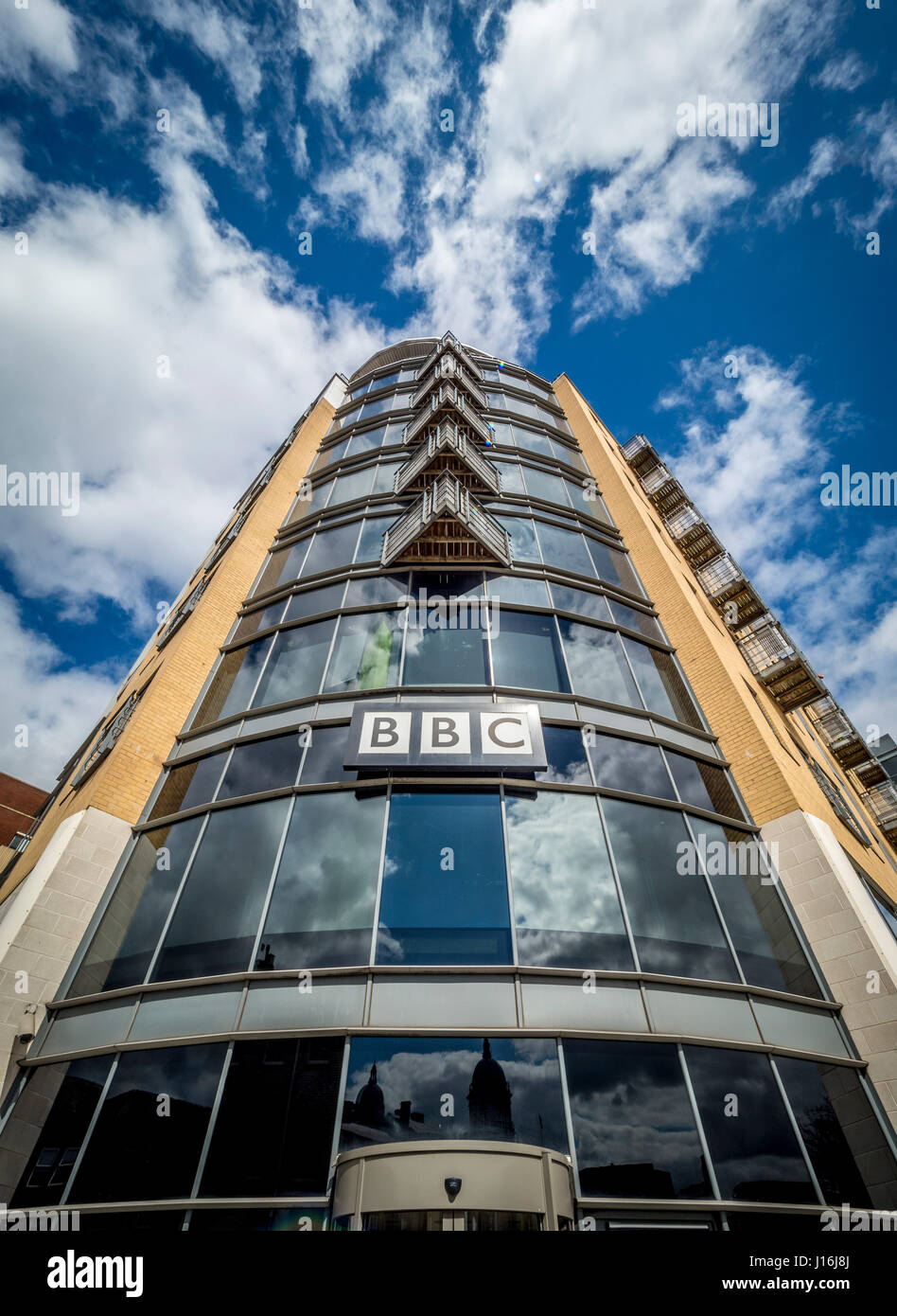 BBC sign on front of Queen's Court building, Hull, UK. - Stock Image