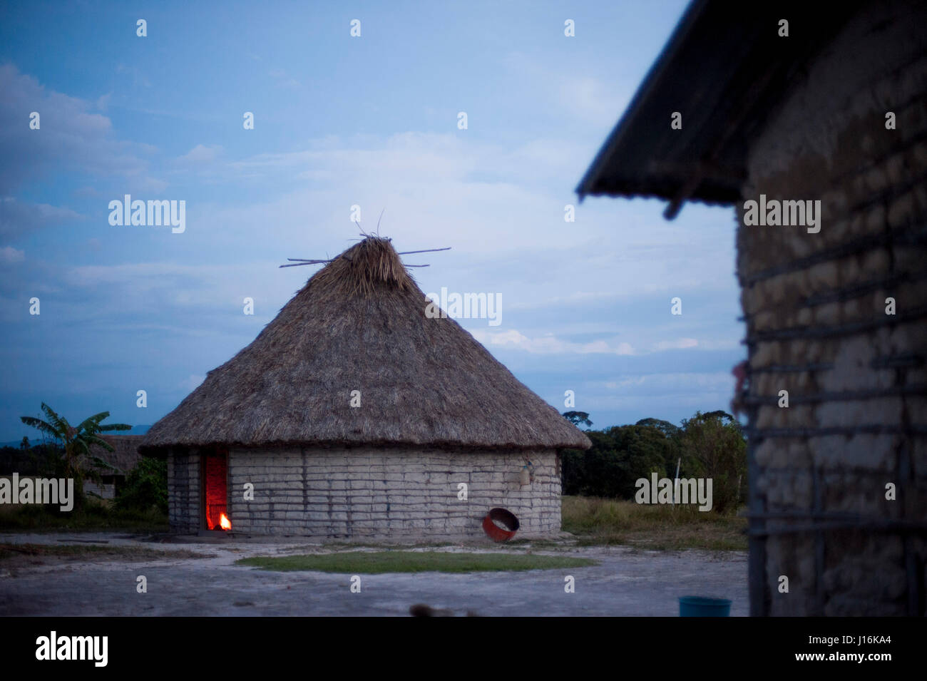 Mud Huts Village In Venezuela - Stock Image