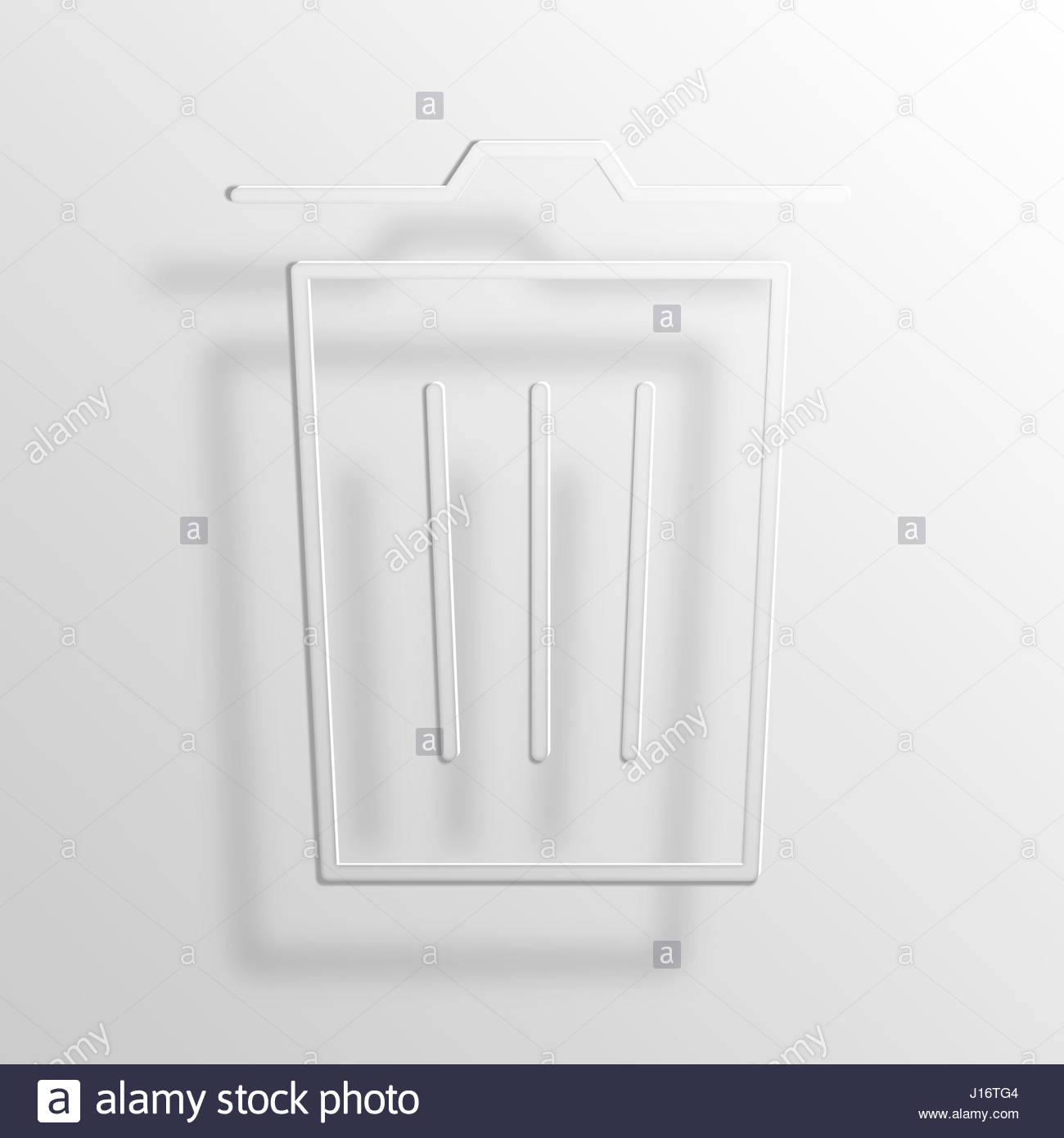 Trash 3d Paper Icon Symbol Business Concept No4810 Stock Photo